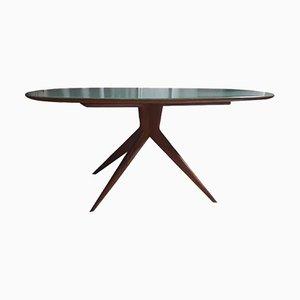 Mesa de comedor Mid-Century de madera de cerezo y vidrio verde