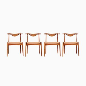 Chaises Bull Vintage Scandinaves, Set de 4