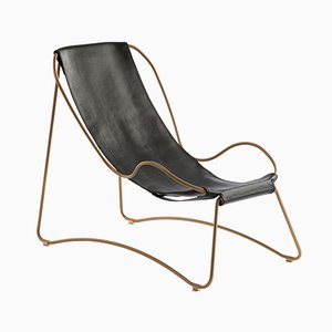 Aged Brass Steel and Black Vegetable Tanned Leather HUG Chaise Lounge by Jover+Valls