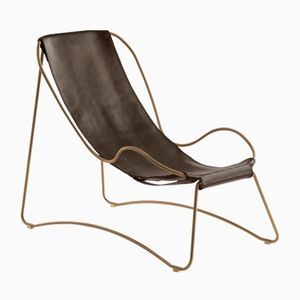 Aged Brass Steel & Dark Brown Vegetable Tanned Leather HUG Chaise Lounge by Jover+Valls