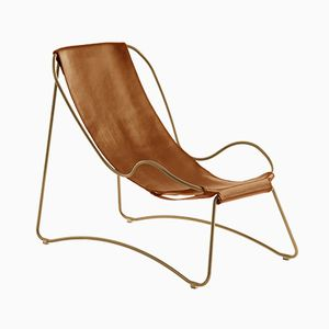 Aged Brass Steel and Natural Tobacco Vegetable Tanned Leather HUG Chaise Lounge by Jover+Valls
