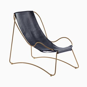 Aged Brass Steel and Navy Blue Vegetable Tanned Leather HUG Chaise Lounge by Jover+Valls