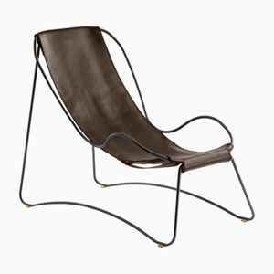 Black Smoke Steel & Dark Brown Vegetable Tanned Leather HUG Chaise Lounge by Jover+Valls