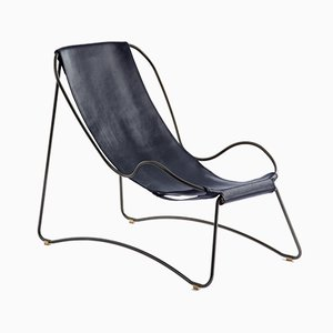 Black Smoke Steel and Navy Blue Vegetable Tanned Leather HUG Chaise Lounge by Jover+Valls