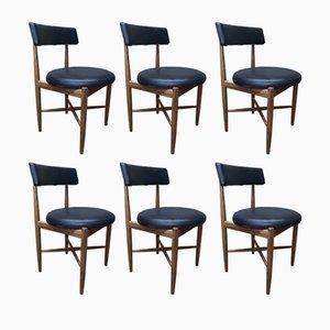Esszimmerstühle aus Vinyl & Teak von Ib Kofod-Larsen für G-plan, 1960er, 6er Set