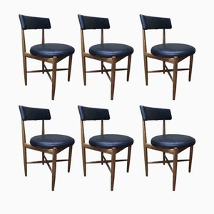 Vinyl & Teak Dining Chairs by Ib Kofod-Larsen for G-plan, 1960s, Set of 6