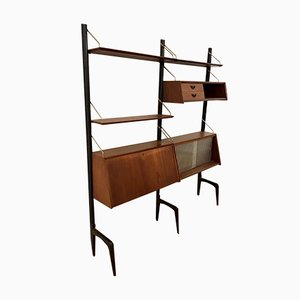 Vintage Modular Teak Wall Unit by Louis van Teeffelen for WéBé