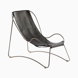 HUG Chaiselongue aus Stahl in Altsilber & schwarz gegerbtem Leder von Jover+Valls