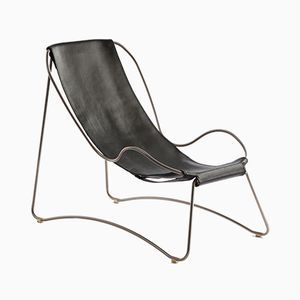 Old Silver Steel & Black Vegetable Tanned Leather HUG Chaise Lounge by Jover+Valls