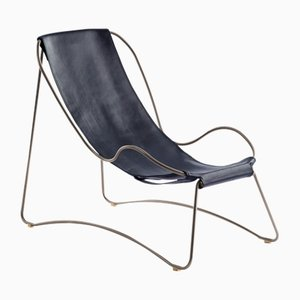 Old Silver Steel & Navy Blue Vegetable Tanned Leather HUG Chaise Lounge by Jover+Valls