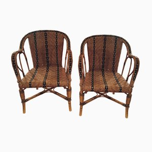 Vintage Bistro Armchairs, 1950s, Set of 2