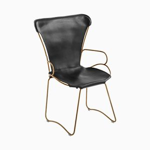 Aged Brass Steel & Black Vegetable Tanned Leather HUG Armchair by Jover+Valls