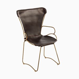 Aged Brass Steel & Dark Brown Vegetable Tanned Leather HUG Armchair by Jover+Valls