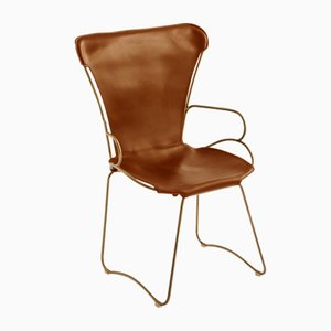 Aged Brass Steel & Natural Tobacco Vegetable Tanned Leather HUG Armchair by Jover+Valls