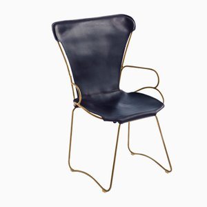Aged Brass Steel & Navy Blue Vegetable Tanned Leather HUG Armchair by Jover+Valls