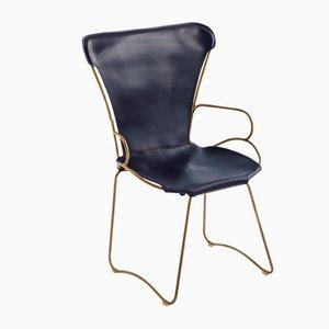HUG Chair aus Stahl in Altmessing & dunkelblau gegerbtem Leder von Jover+Valls
