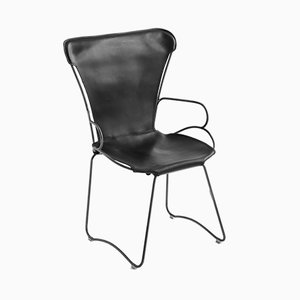 Black Smoke Steel and Black Vegetable Tanned Leather HUG Armchair by Jover+Valls