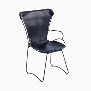 Black Smoke Steel & Navy Blue Vegetable Tanned Leather HUG Armchair by Jover+Valls