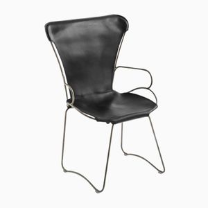 Old Silver Steel and Black Vegetable Tanned Leather HUG Armchair by Jover+Valls
