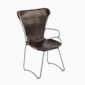 Old Silver Steel and Dark Brown Vegetable Tanned Leather HUG Armchair by Jover+Valls