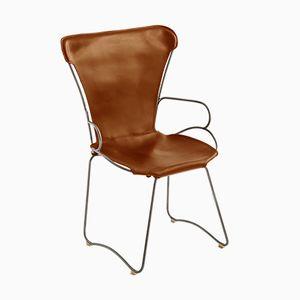 HUG Chair aus Stahl in Altsilber & braun gegerbtem Leder von Jover+Valls