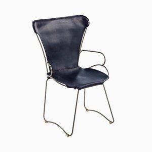 HUG Chair aus Stahl in Altsilber & dunkelblau gegerbtem Leder von Jover+Valls
