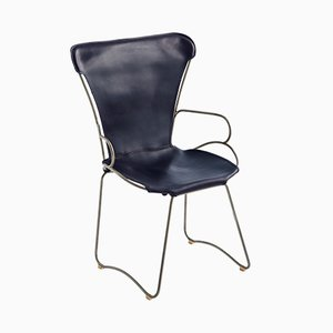 Old Silver Steel & Navy Blue Vegetable Tanned Leather HUG Armchair by Jover+Valls