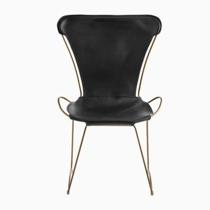 Aged Brass Steel and Black Vegetable Tanned Leather HUG Chair by Jover+Valls
