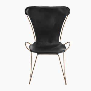 HUG Chair aus Stahl in Altmessing & schwarz gegerbtem Leder von Jover+Valls
