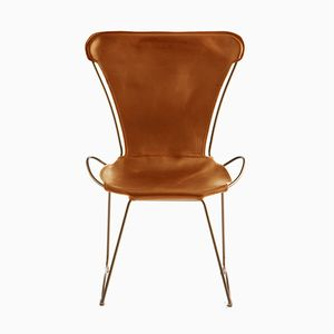 Aged Brass Steel & Natural Tobacco Vegetable Tanned Leather HUG Chair by Jover+Valls