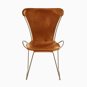 HUG Chair aus Stahl in Altmessing & braun gegerbtem Leder von Jover+Valls