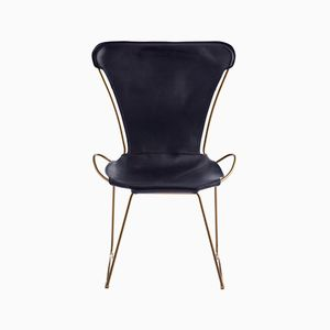 Aged Brass Steel & Navy Blue Vegetable Tanned Leather HUG Chair by Jover+Valls