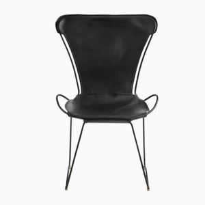 Black Smoke Steel & Black Vegetable Tanned Leather HUG Chair by Jover+Valls