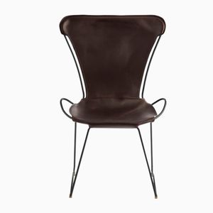 Black Smoke Steel and Dark Brown Vegetable Tanned Leather HUG Chair by Jover+Valls