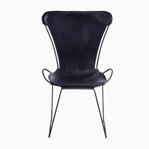 Black Smoke Steel & Navy Blue Vegetable Tanned Leather HUG Chair by Jover+Valls