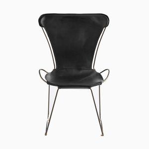 HUG Chair aus Stahl in Altsilber & schwarz gegerbtem Leder von Jover+Valls