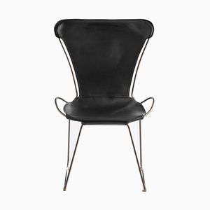 Old Silver Steel & Black Vegetable Tanned Leather HUG Chair by Jover+Valls