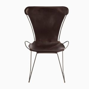 Old Silver Steel and Dark Brown Vegetable Tanned Leather HUG Chair by Jover+Valls