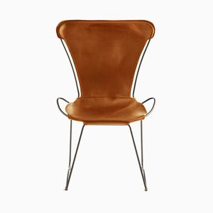 Old Silver Steel & Natural Tobacco Vegetable Tanned Leather HUG Chair by Jover+Valls