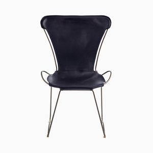 Old Silver Steel & Navy Blue Vegetable Tanned Leather HUG Chair by Jover+Valls