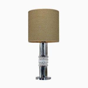 Vintage Tischlampe aus Kristallglas & Chrom von Kosta Boda