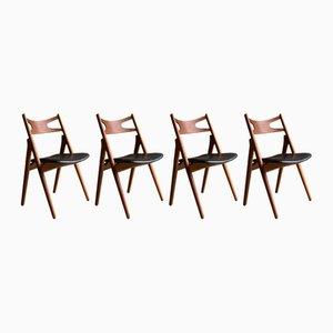 Chaises de Salle à Manger Sawbuck Modèle CH29 Vintage par Hans J. Wegner pour Carl Hansen, 1950s, Set de 4