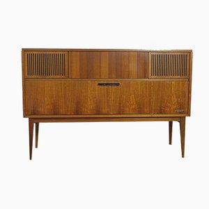Mueble con equipo de música modelo 52225 vintage de nogal de Loewe, 1964