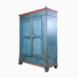19th Century Blue-Painted Two-Door Armoire