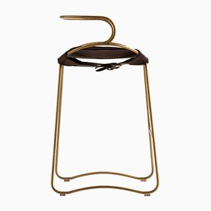 Aged Brass Steel and Dark Brown Vegetable Tanned Leather HUG Arm Counter Stool by Jover+Valls
