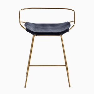 Aged Brass Steel & Navy Blue Vegetable Tanned Leather Hug Arm Counter Stool by Jover+Valls
