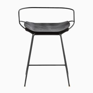 HUG Counter Stool in Black Steel and Black Vegetable Tanned Leather by Jover Valls