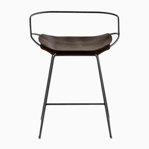 Black Smoke Steel & Dark Brown Vegetable Tanned Leather Hug Arm Counter Stool by Jover+Valls