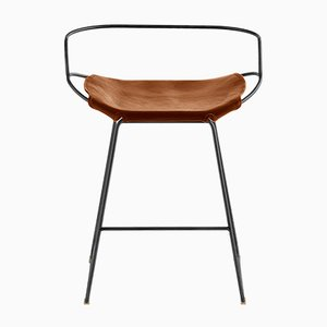 Black Smoke Steel & Natural Tobacco Vegetable Tanned Leather Hug Arm Counter Stool by Jover+Valls