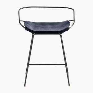 Black Smoke Steel & Navy Blue Vegetable Tanned Leather Hug Arm Counter Stool by Jover+Valls
